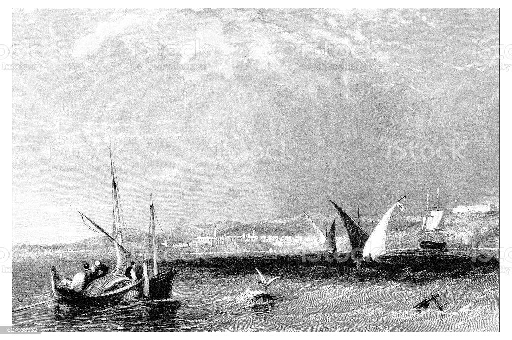 Antique illustration of mediterranean landscapes: Town and harbour of Bona vector art illustration