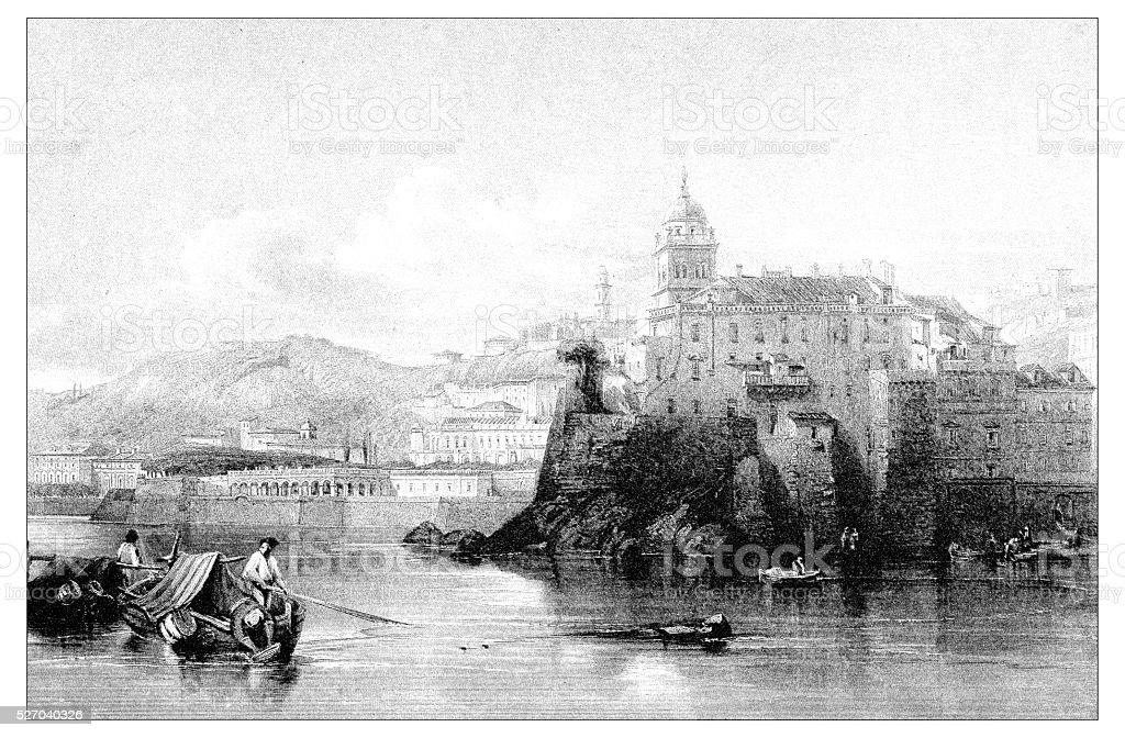 Antique illustration of mediterranean landscapes: Villa Doria, Genoa vector art illustration