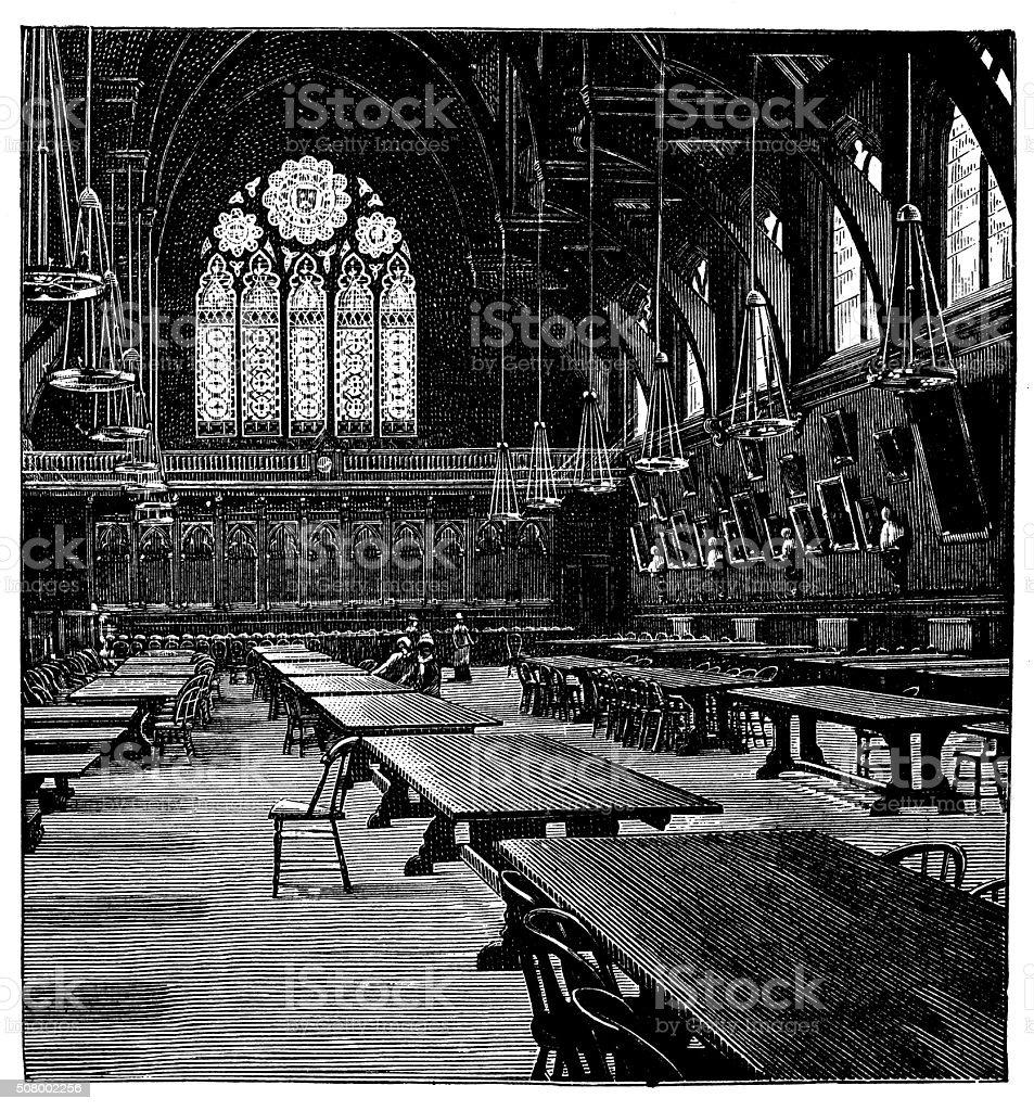 Antique illustration of Memorial Hall, Harvard College, dining room vector art illustration