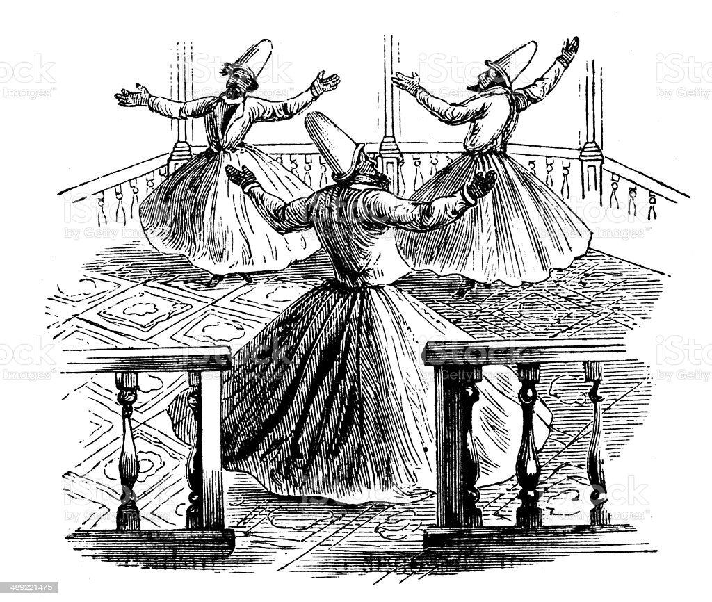 Antique illustration of Mevlevis or Dancing Dervishes vector art illustration
