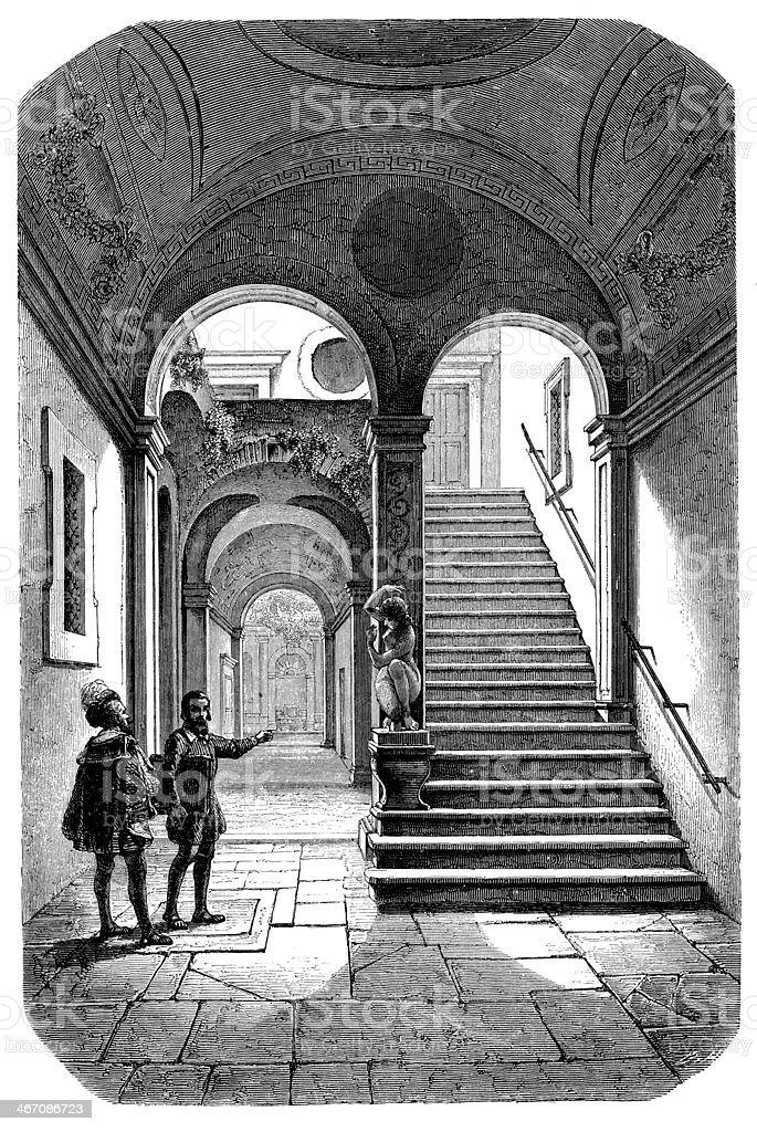 Antique illustration of Michelangelo's home vector art illustration