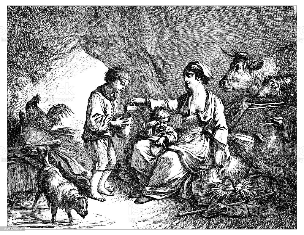 Antique illustration of milkwoman giving milk to kids vector art illustration