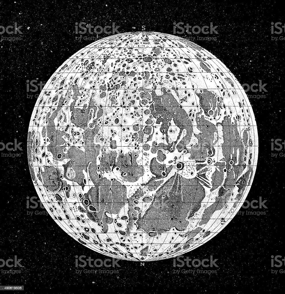 Antique illustration of moon vector art illustration