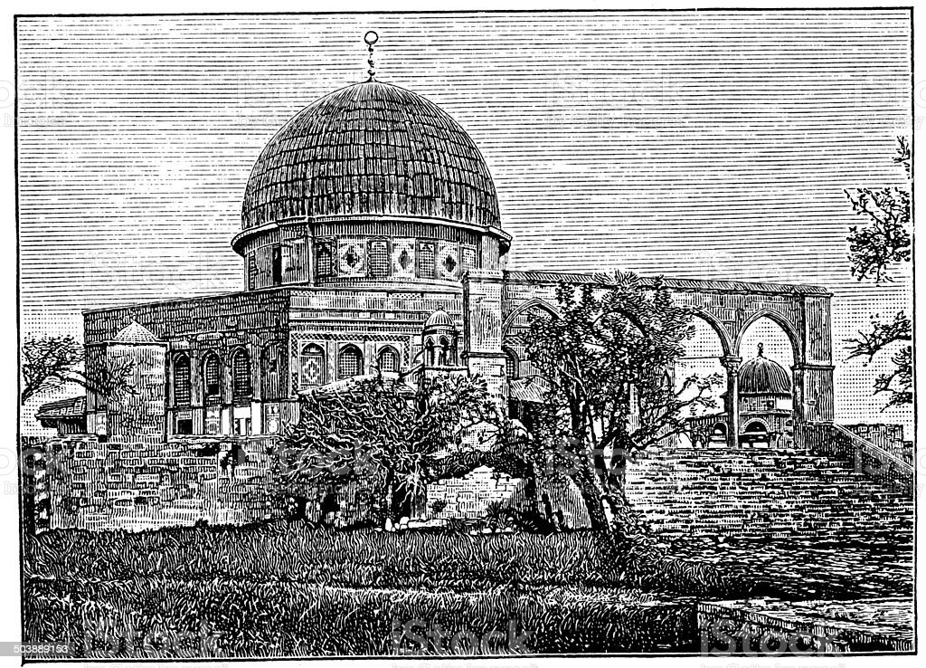 Antique illustration of Mosque of Omar, Jerusalem vector art illustration