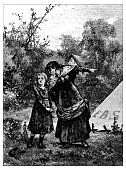 Antique illustration of mother and daughter