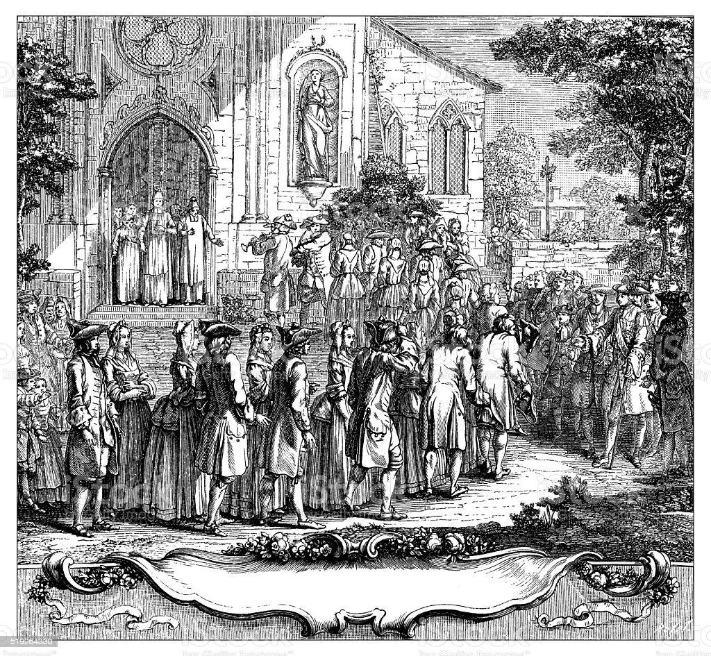 Antique illustration of multiple wedding vector art illustration