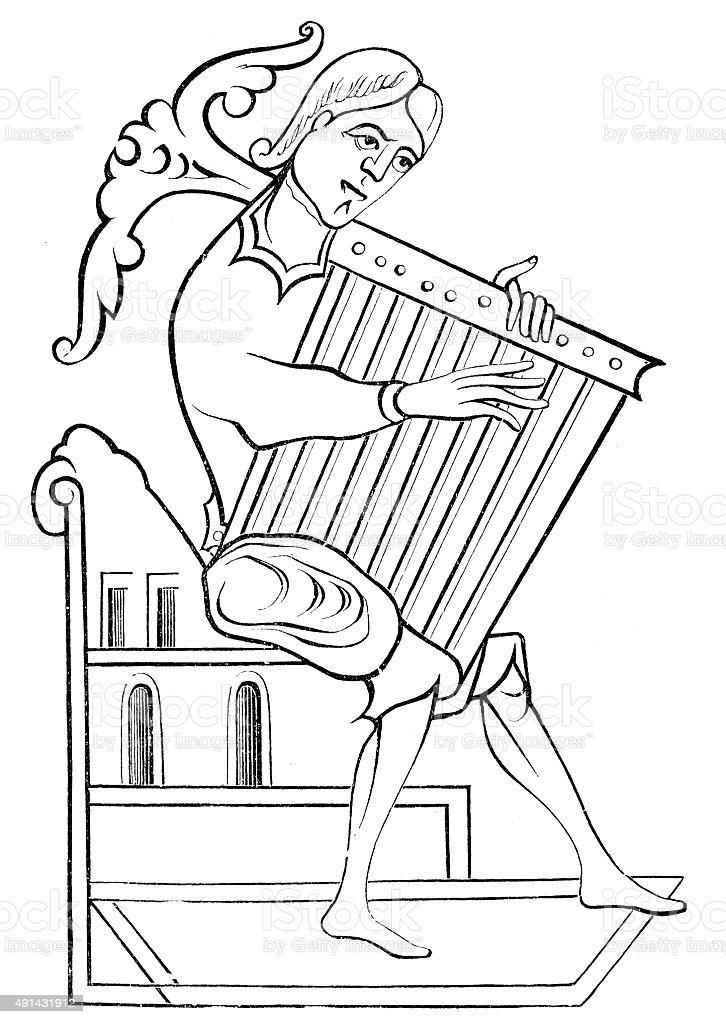 Antique illustration of musical instruments: harp vector art illustration
