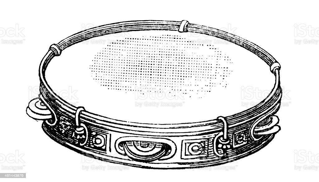 Antique illustration of musical instruments: tambourine vector art illustration