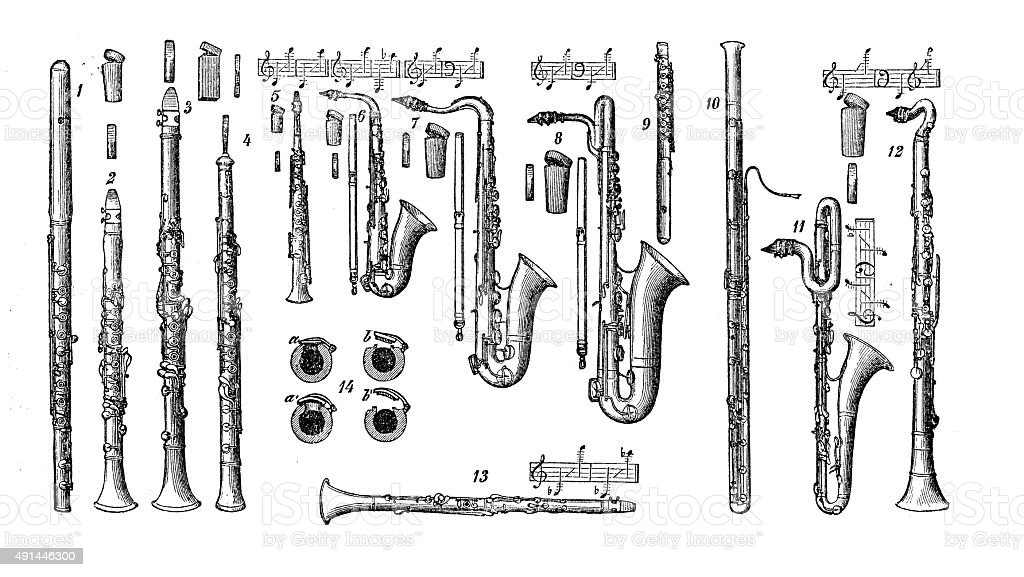Antique illustration of musical instruments: woodwinds vector art illustration
