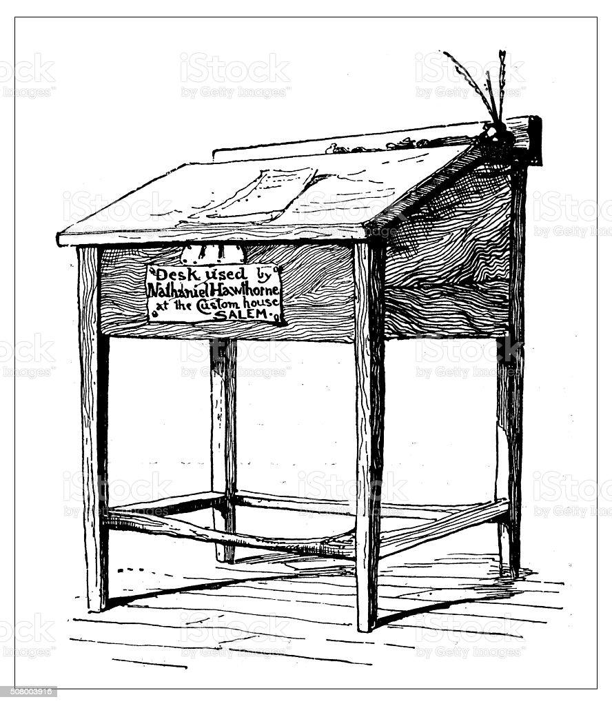 Antique illustration of Nathaniel Hawthorne's desk vector art illustration