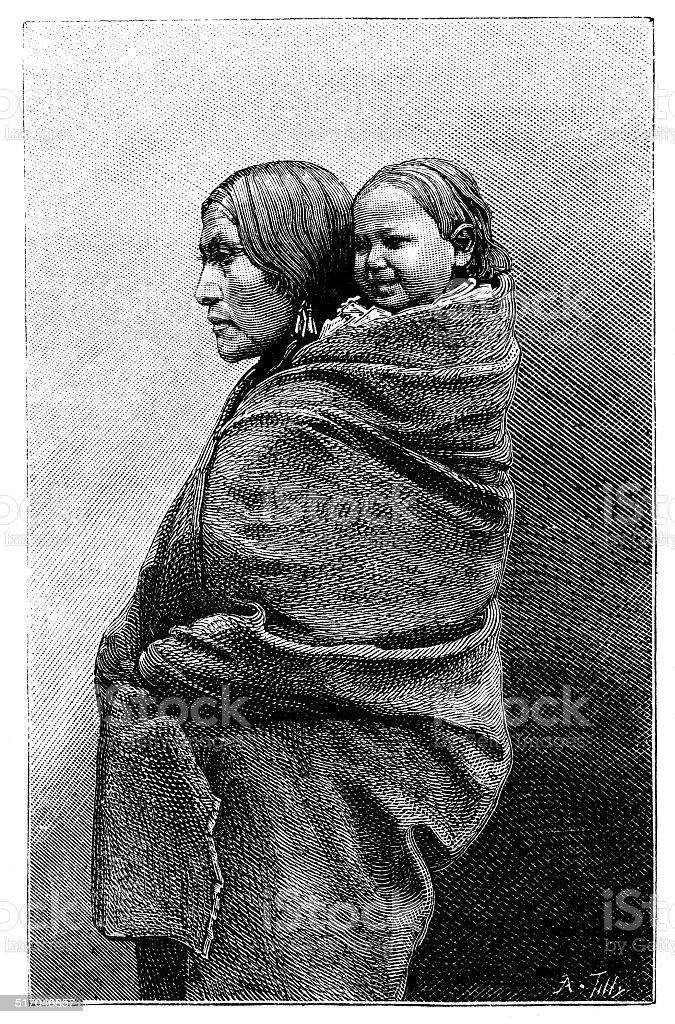 Antique illustration of native American woman vector art illustration