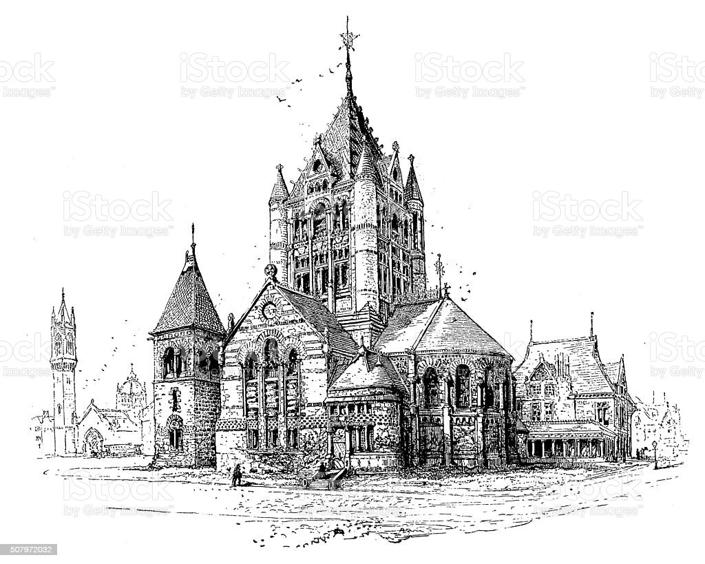 Antique illustration of new old south and trinity churches, Boston vector art illustration