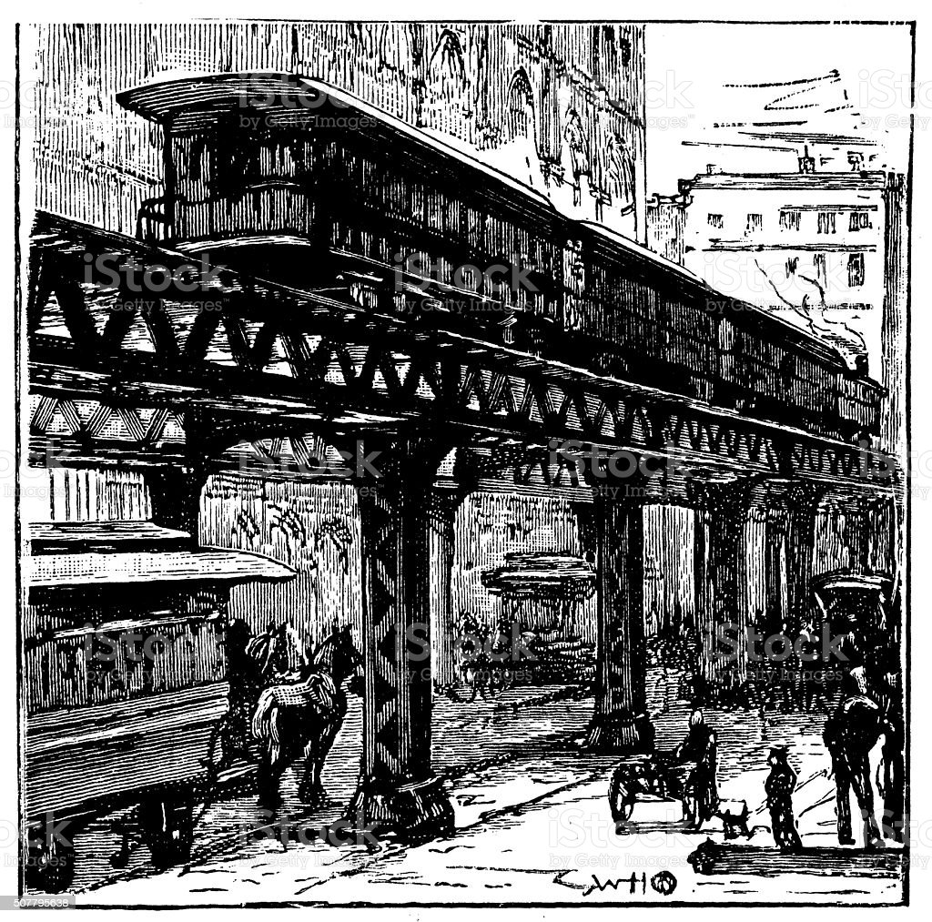 Antique illustration of New York elevated railway vector art illustration