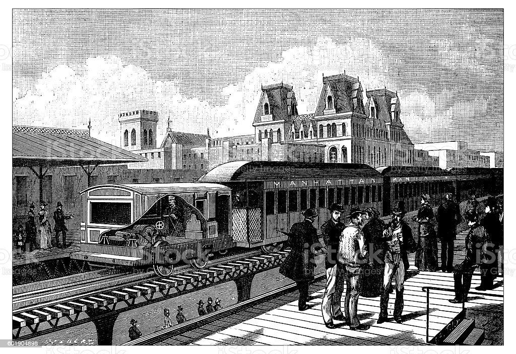 Antique illustration of New York railroad vector art illustration
