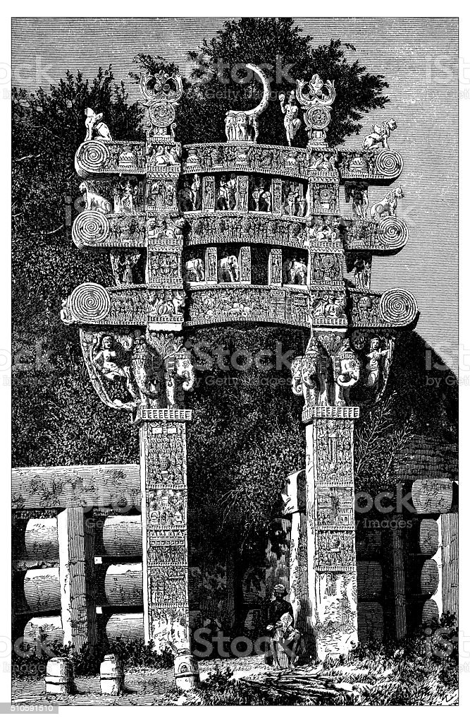 Antique illustration of North Gate to the Stupa of Sanchi vector art illustration