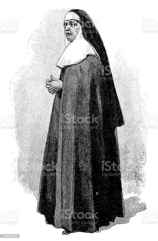 Antique illustration of nun vector art illustration