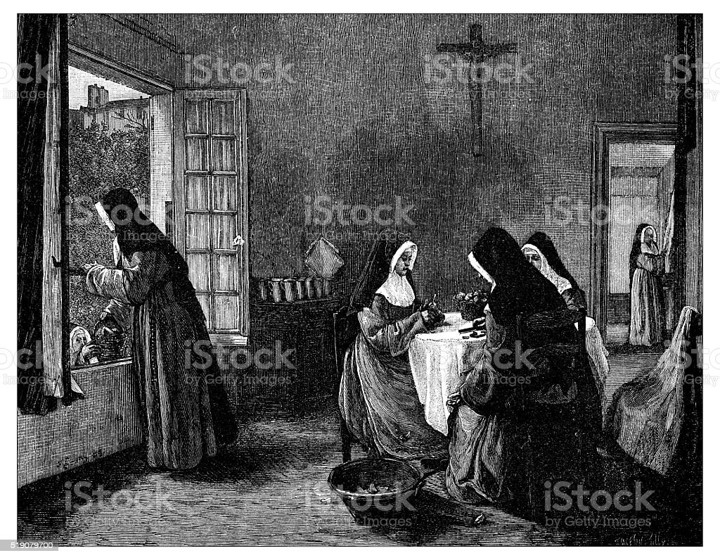 Antique illustration of nuns peeling fruits vector art illustration