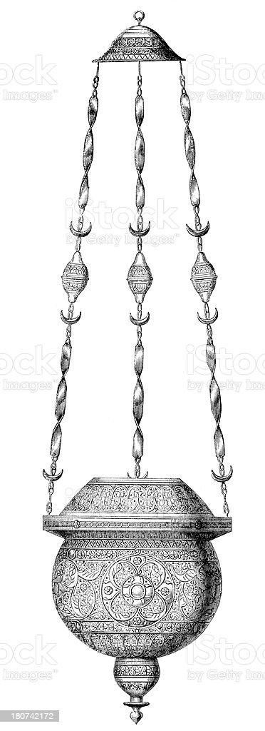 Antique illustration of oil lamp royalty-free stock vector art