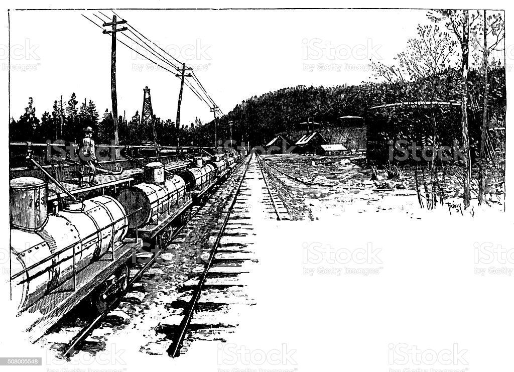 Antique illustration of oil sliding, petroleum train and pumping station vector art illustration