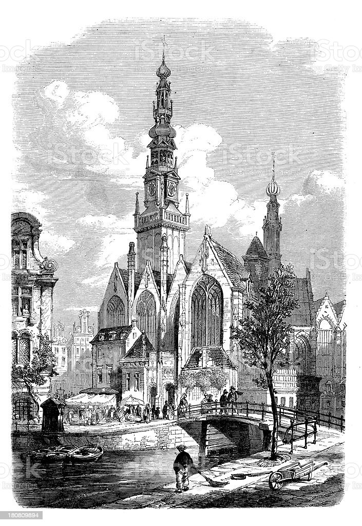 Antique illustration of old church in Amsterdam royalty-free stock vector art