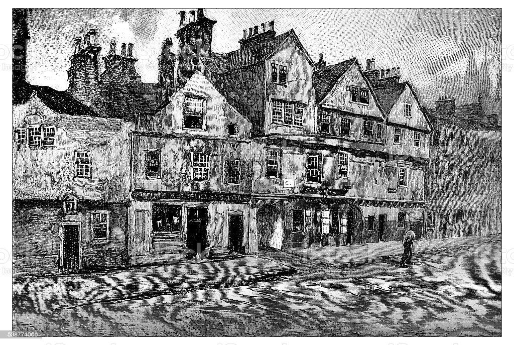 Antique illustration of old Edinburgh: Canongate vector art illustration