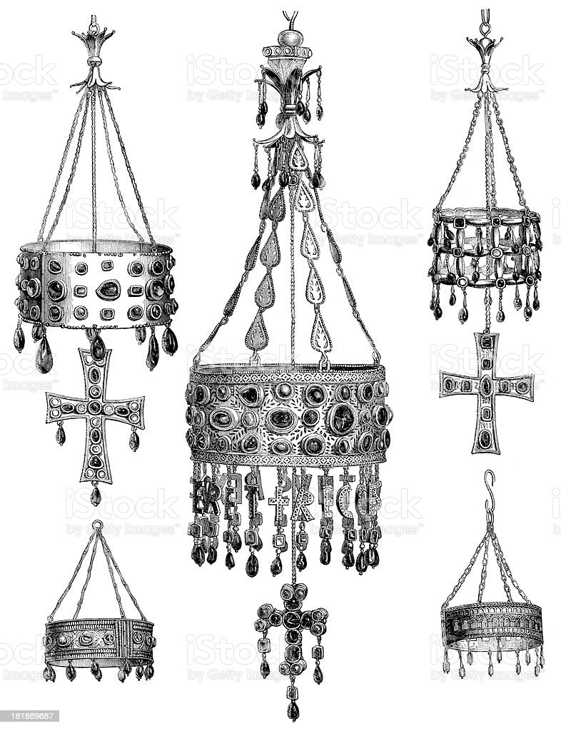 Antique illustration of old Spanish crowns in Guarrazar royalty-free stock vector art