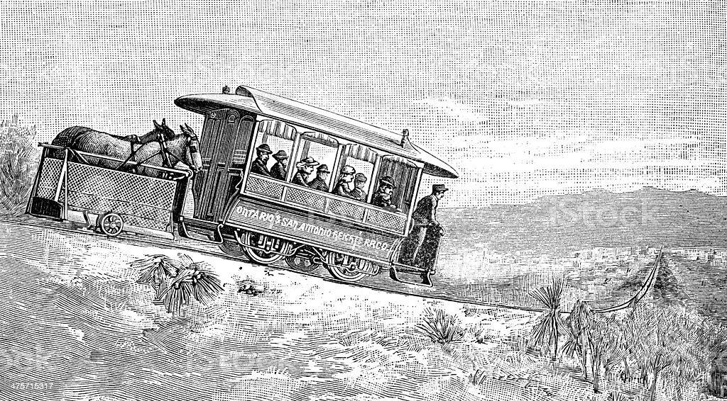 Antique illustration of Ontario tram vector art illustration