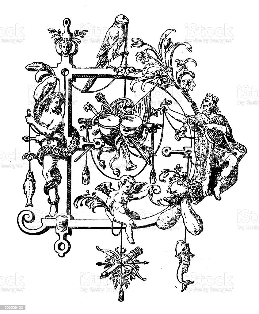 Antique illustration of ornate capital letter D vector art illustration