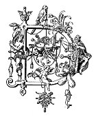 Antique illustration of ornate capital letter D