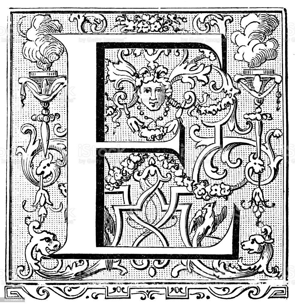 Antique illustration of ornate capital letter E vector art illustration
