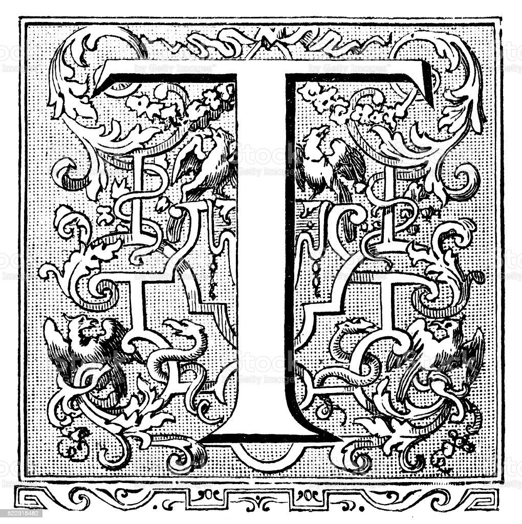 Antique illustration of ornate capital letter T vector art illustration