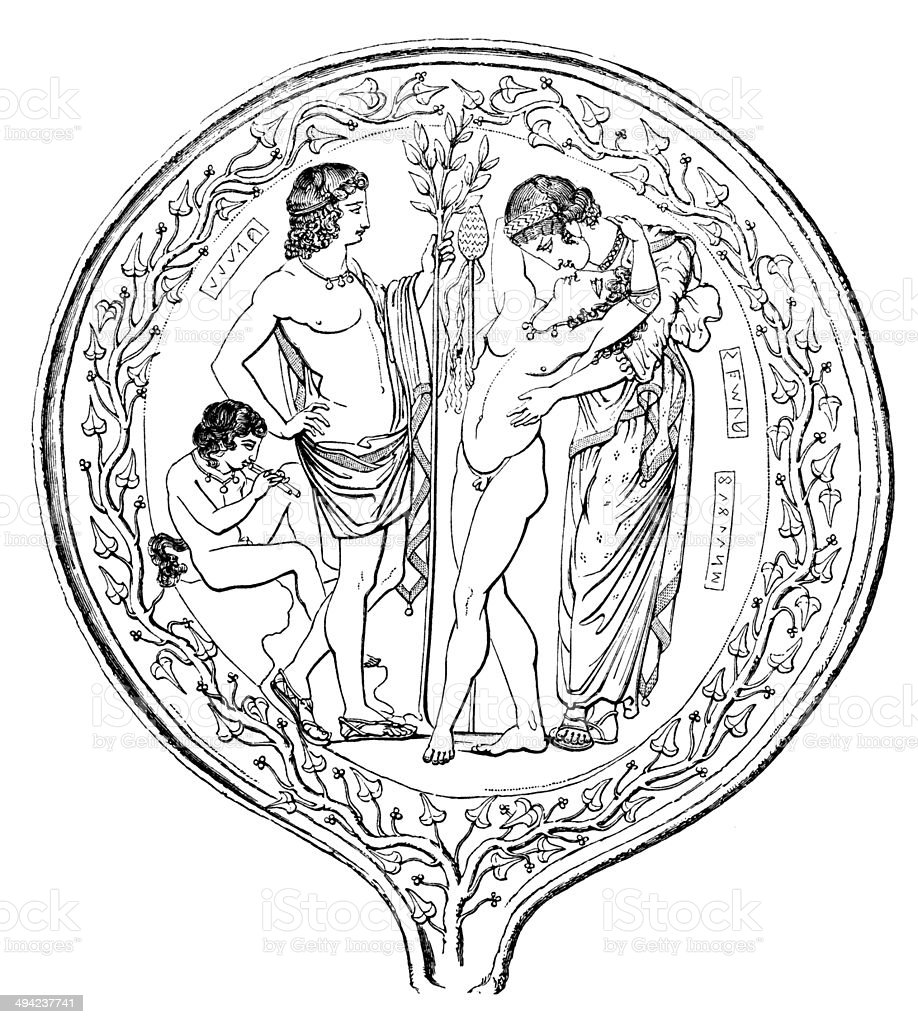Antique illustration of ornate etruscan mirror royalty-free stock vector art