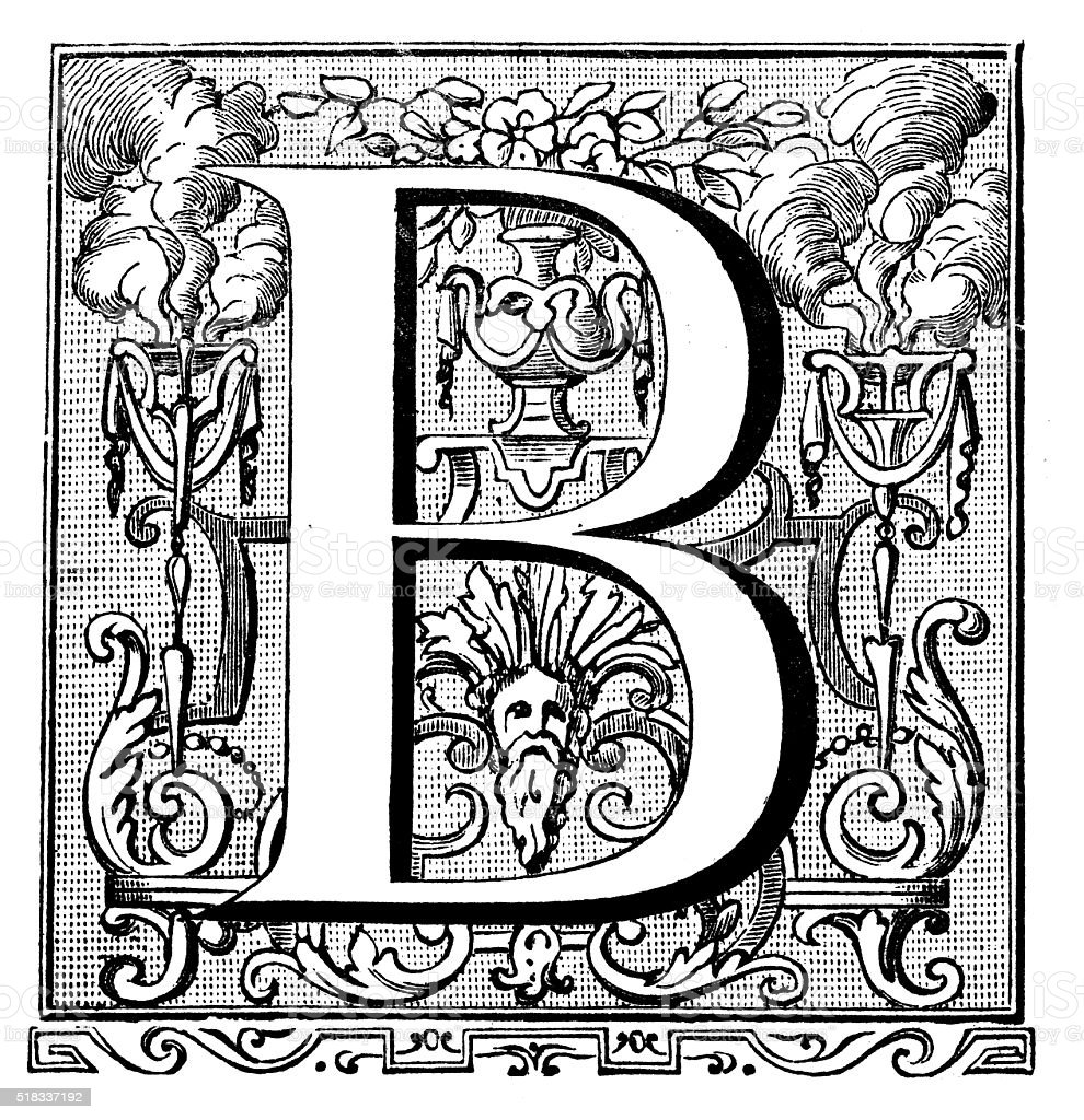 Antique illustration of ornate letter B vector art illustration