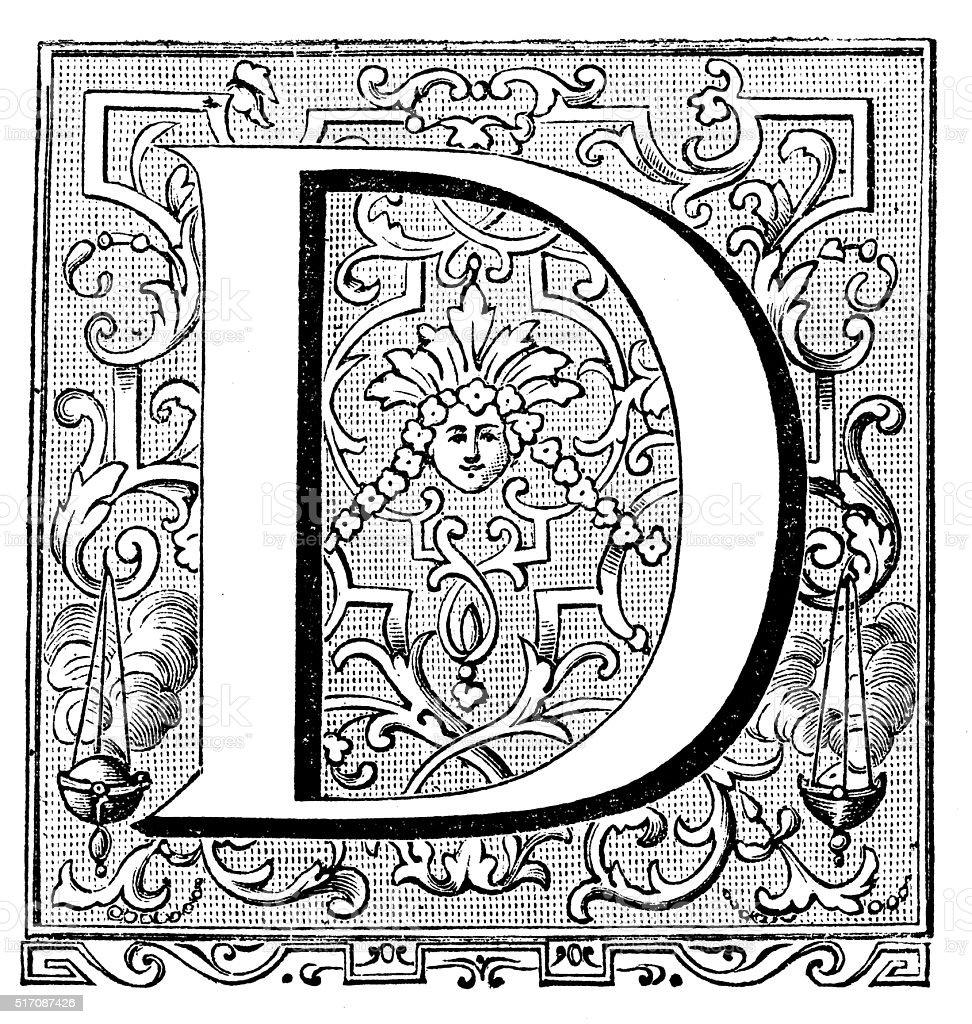 Antique illustration of ornate letter D vector art illustration