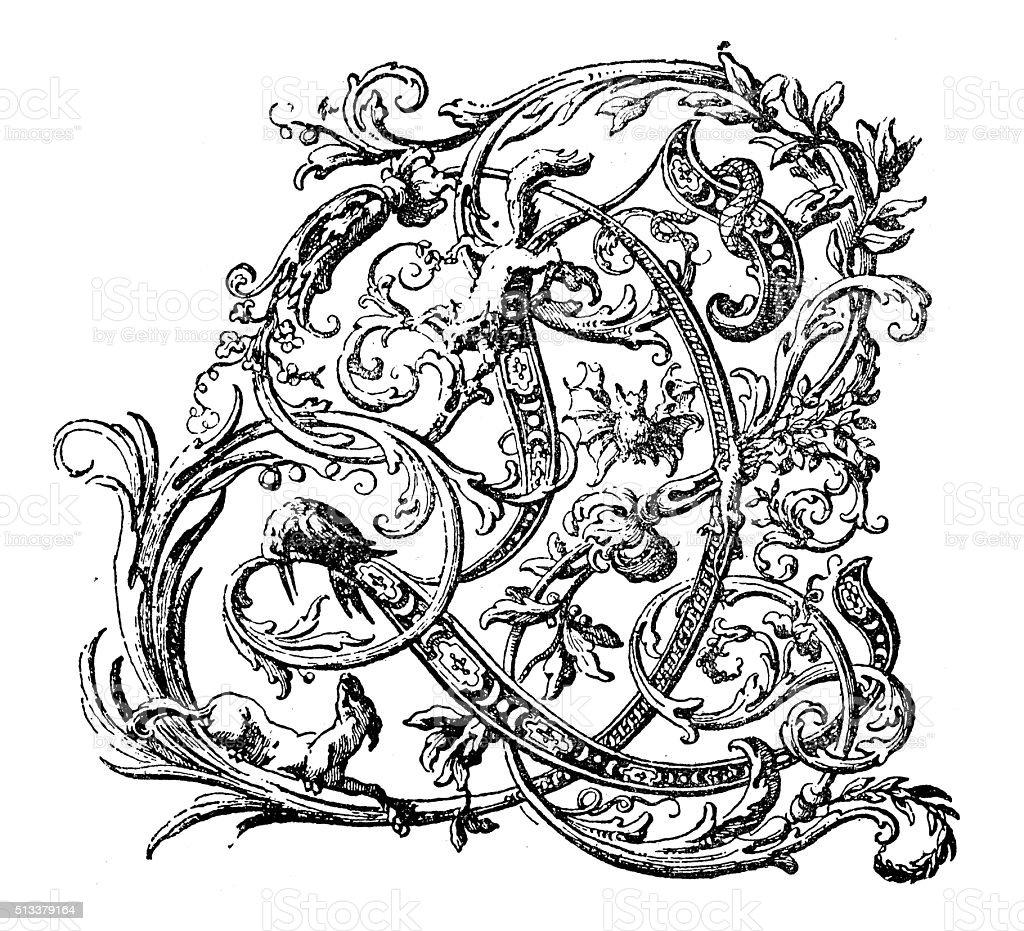 Antique illustration of ornate letter L vector art illustration