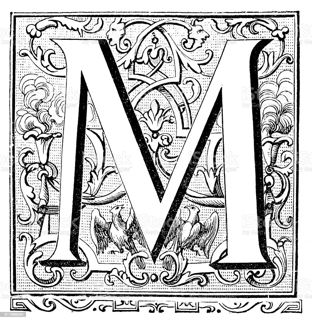 Antique illustration of ornate letter M vector art illustration