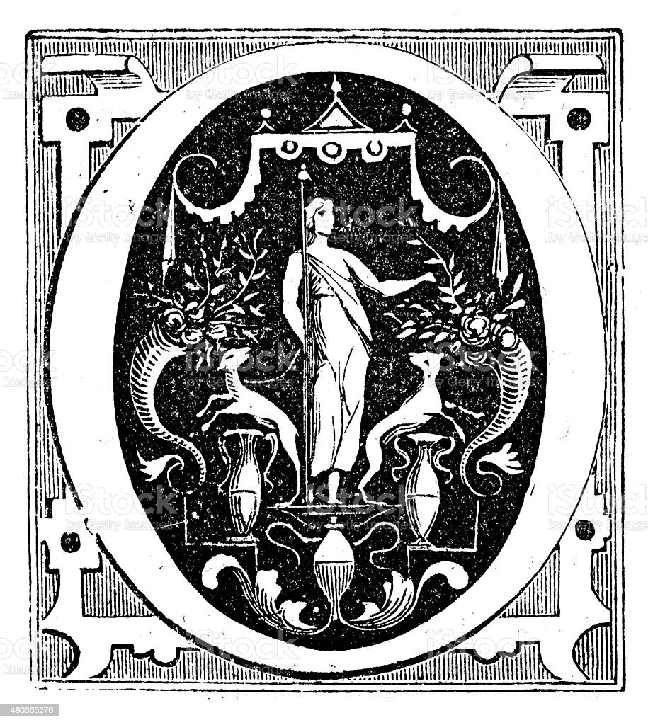 Antique illustration of ornate letter 'O' vector art illustration