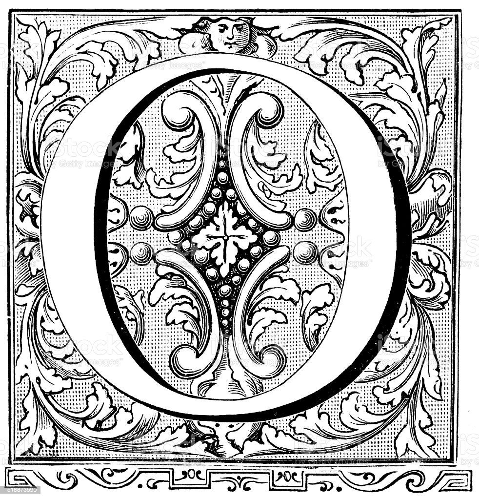 Antique illustration of ornate letter O vector art illustration