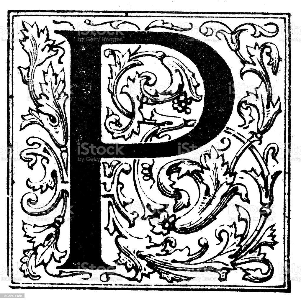Antique illustration of ornate letter P vector art illustration
