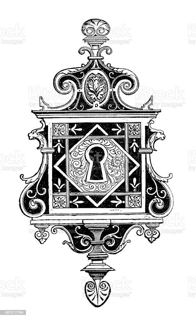 Antique illustration of ornate lock vector art illustration