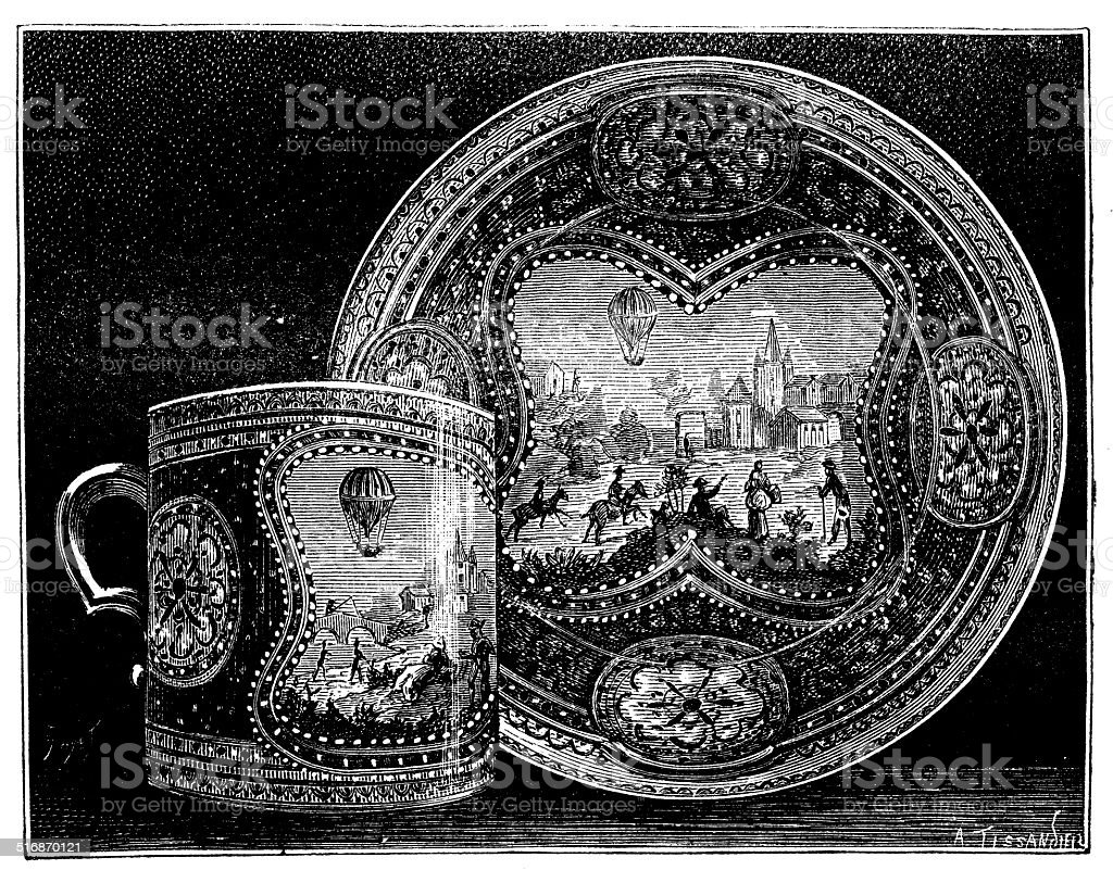 Antique illustration of ornate porcelain mug with dish vector art illustration