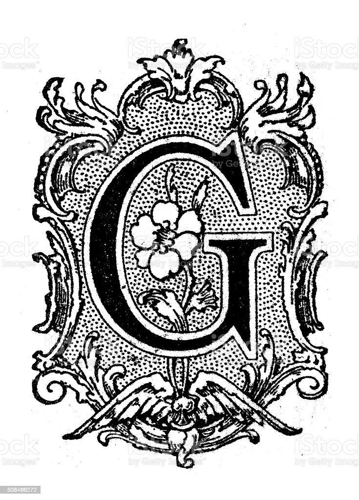 Antique illustration of ornatecapital letter G vector art illustration