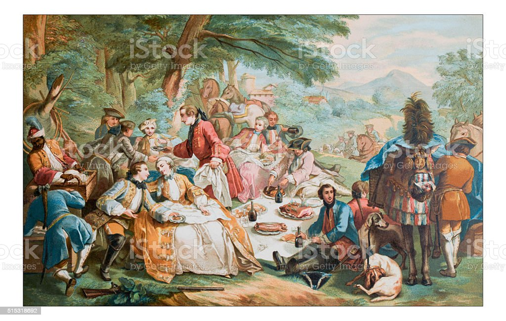 Antique illustration of outdoor party lunch during hunting vector art illustration