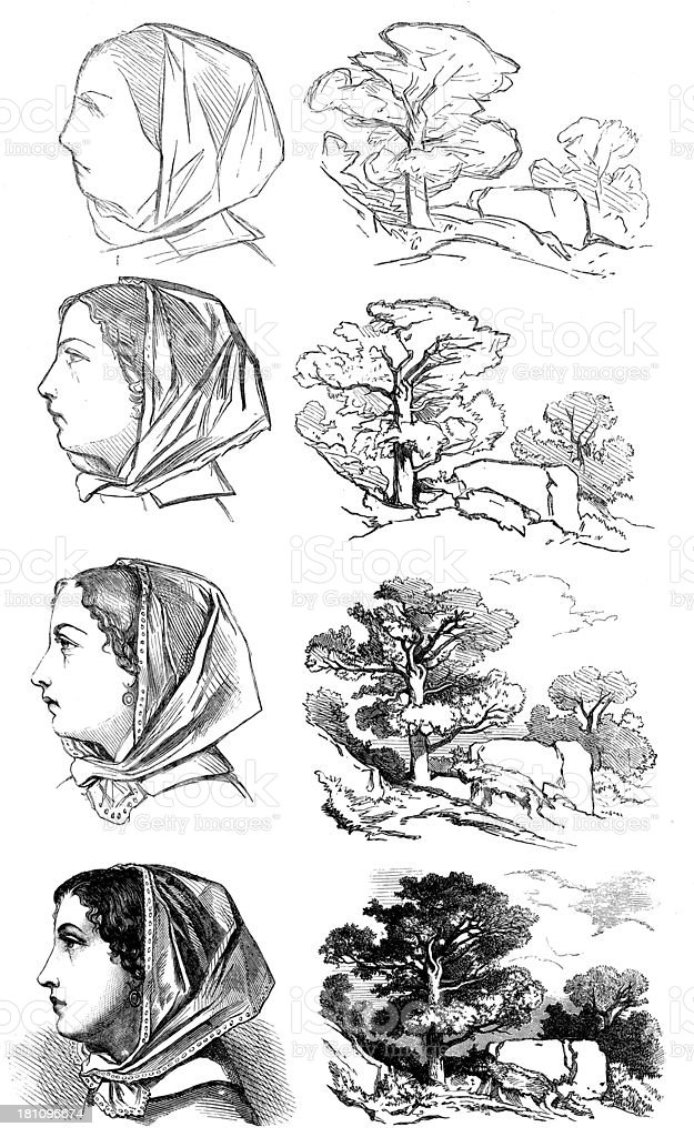 Antique illustration of painter's sketch royalty-free stock vector art