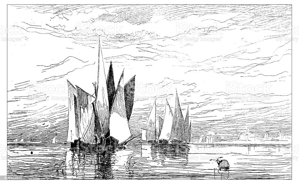 Antique illustration of painting called 'Approach of Venice' vector art illustration