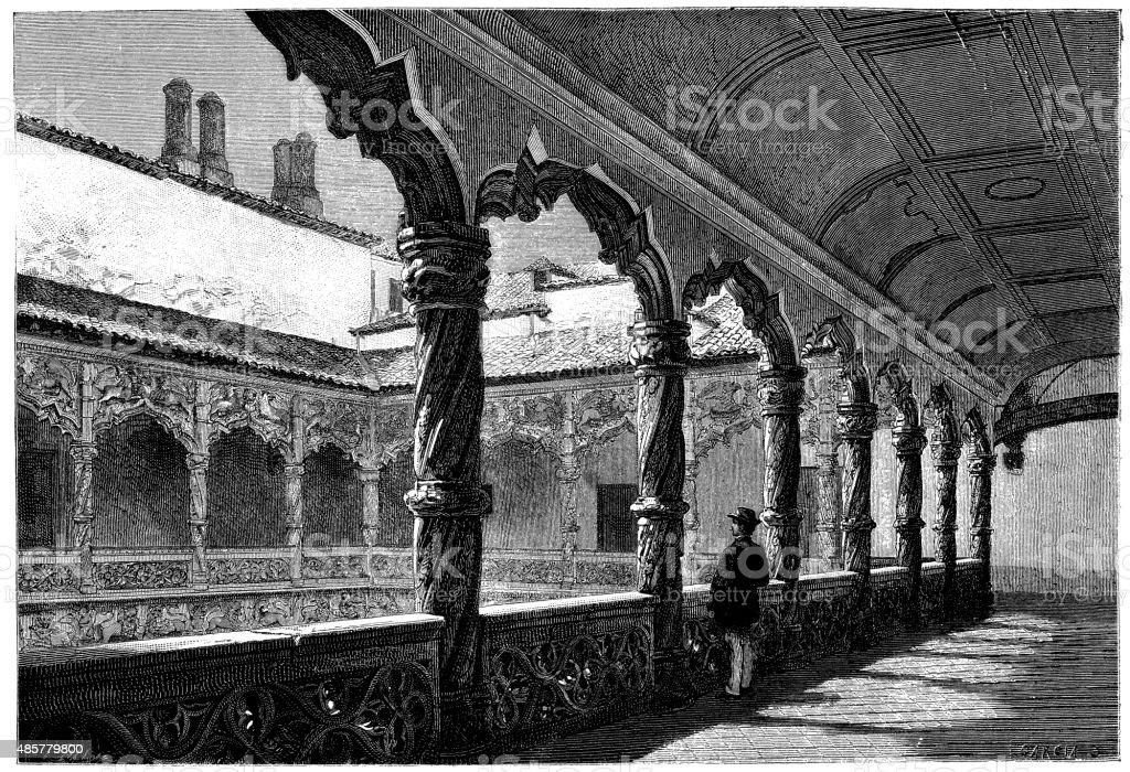 Antique illustration of Palace of El Infantado, Guadalajara vector art illustration