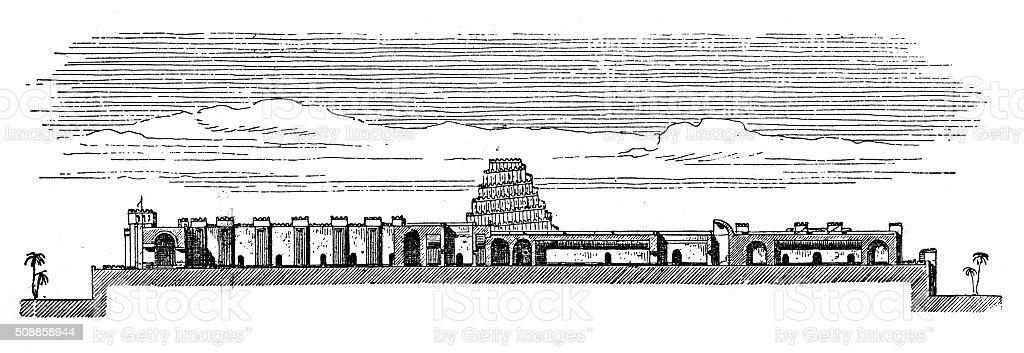 Antique illustration of palace of Sargon II (Dur-Sharrukin, Khorsabad, Iraq) vector art illustration