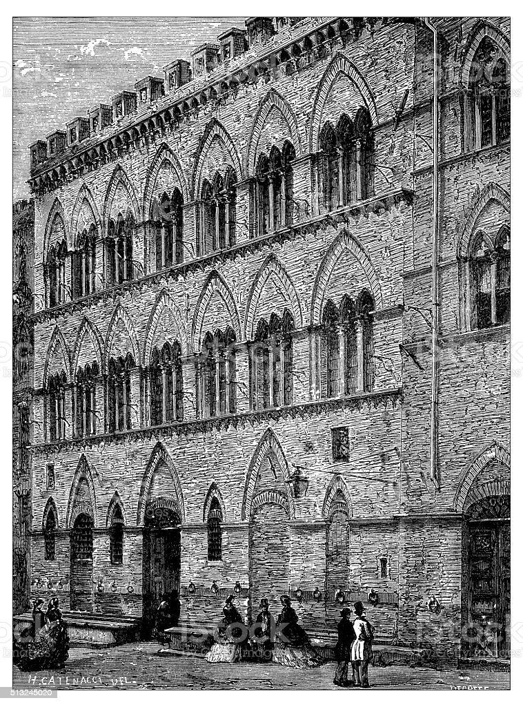 Antique illustration of Palazzo Chigi-Saracini (Siena) vector art illustration