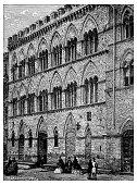 Antique illustration of Palazzo Chigi-Saracini (Siena)