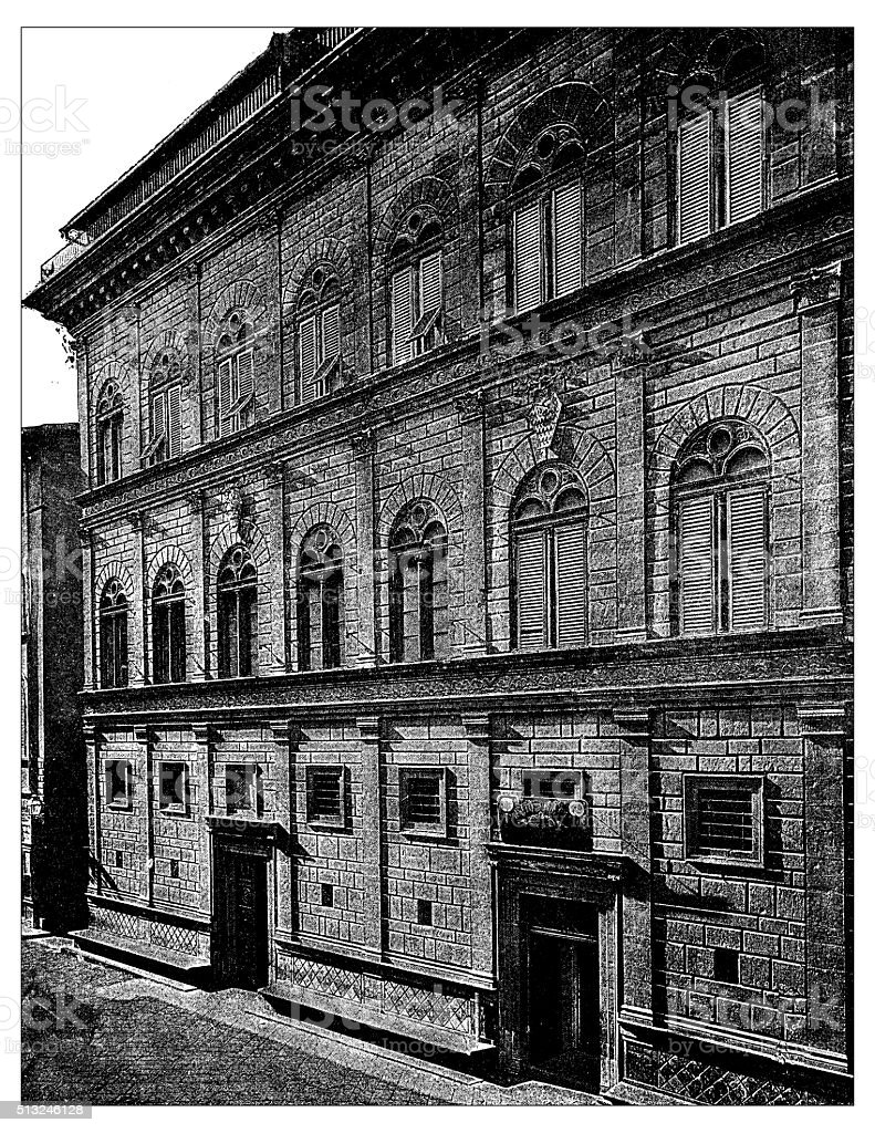 Antique illustration of Palazzo Rucellai (Florence) vector art illustration